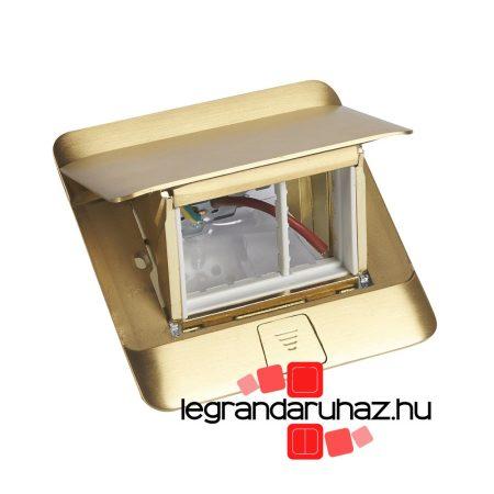 Legrand Pop-up felnyíló süllyesztett padlódoboz 3 modul, sárgaréz, üres 054015