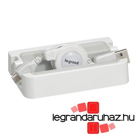 Legrand Töltőállomás okostelefonokhoz, visszahúzható micro USB vezetékkel 080399