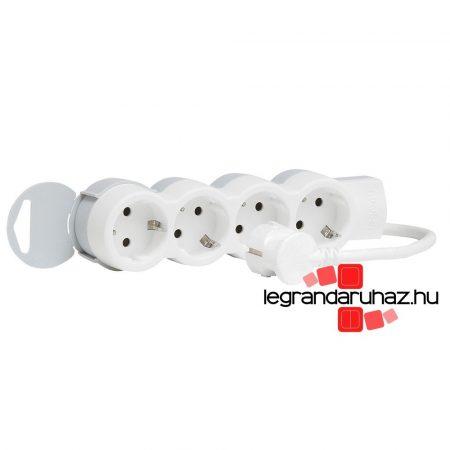 Legrand 4x2P+F elosztósor ST, 1,5m vezetékkel, fehér-szürke 695006