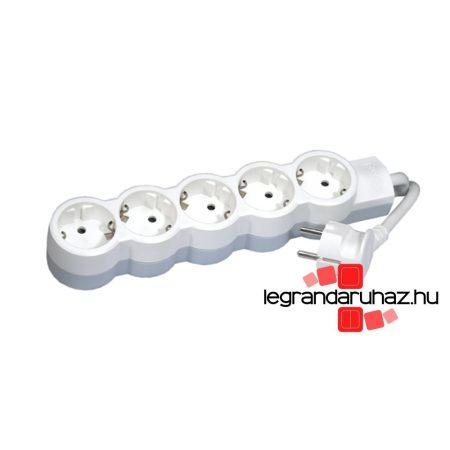 Legrand 5x2P+F elosztósor ST, 1,5m vezetékkel, fehér-szürke 695011