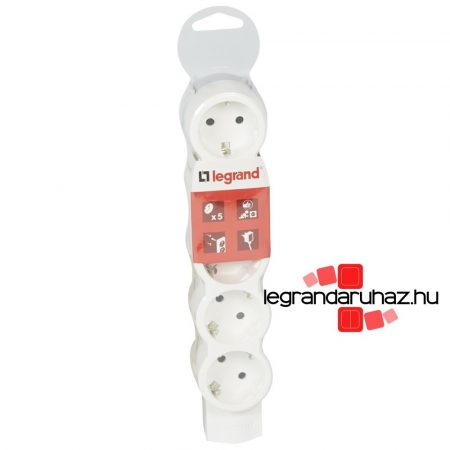 Legrand 5x2P+F elosztósor ST, kábel nélkül, fehér-szürke 695014