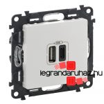 Legrand Valena Life töltőaljzat kettős USB C-típusú + USB A-típusú csatlakozóval, fehér 753106