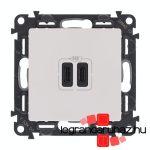 Legrand Valena Life töltőaljzat kettős USB C-típusú csatlakozóval, fehér 753107