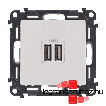 Legrand Valena Life kettős USB töltőaljzat beépített tápegységgel - 5V - 1500 mA fehér 753112