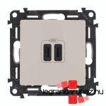 Legrand Valena Life töltőaljzat kettős USB C-típusú csatlakozóval, elefántcsont 753207