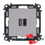 Legrand Valena Life töltőaljzat kettős USB C-típusú + USB A-típusú csatlakozóval, alumínium 753306