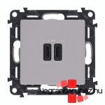 Legrand Valena Life töltőaljzat kettős USB C-típusú csatlakozóval, alumínium 753307