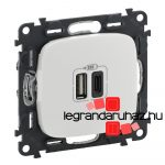 Legrand Valena Allure töltőaljzat kettős USB C-típusú + USB A-típusú csatlakozóval, fehér 754965