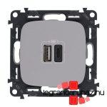 Legrand Valena Allure töltőaljzat kettős USB C-típusú + USB A-típusú csatlakozóval, alumínium 754967