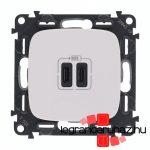Legrand Valena Allure töltőaljzat kettős USB C-típusú csatlakozóval, fehér 755345