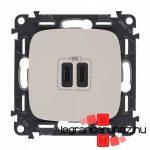Legrand Valena Allure töltőaljzat kettős USB C-típusú csatlakozóval, elefántcsont 755346