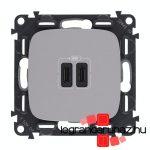 Legrand Valena Allure töltőaljzat kettős USB C-típusú csatlakozóval, alumínium 755347