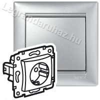 Legrand Valena 2P+F aljzat burkolat biztonsági zsaluval, alumínium 770257